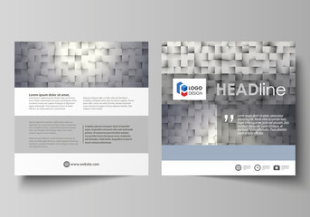 Business templates for square design brochure, magazine, flyer, booklet or annual report. Leaflet cover, abstract vector layout. Pattern made from squares, gray background in geometrical style.