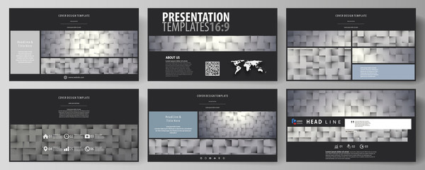 Business templates in HD format for presentation slides. Easy editable abstract vector layouts in flat design. Pattern made from squares, gray background in geometrical style. Simple texture.