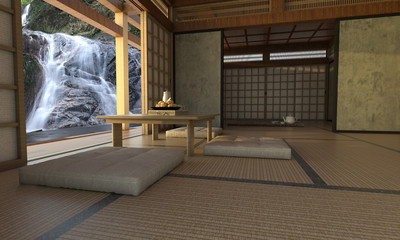 Modern living room interior with japanese style-3d rendering