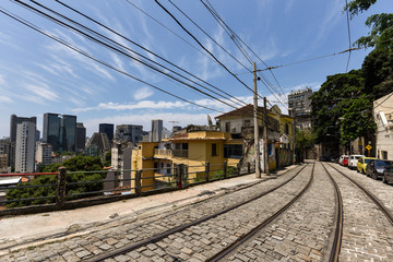 Street in Santa Teresa Neighborhood With the View of Rio de Janeiro City Financial Center Buildings