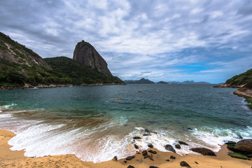 Wall Mural - Red Beach is Rio de Janeiro One of the Famous Beaches With the View of Sugarloaf Mountain