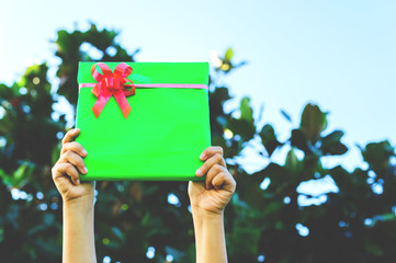 The theme of celebrations and gifts: hand holding a gift wrapped in a green box with red ribbon and bow, Vintage style