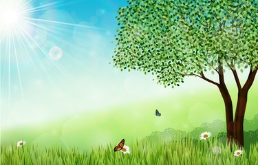 Spring background with tree and butterflies