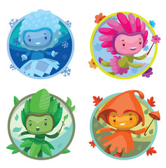 Vector set of round frames with cartoon images of cute fairies of the seasons: spring, summer, autumn and winter, with magic wands in hands on a white background. Illustration with shadows, highlights