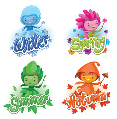 Vector set of emblems with cartoon images of cute fairies of the seasons: spring, summer, autumn and winter, with magic wands in hands on a white background. Illustration with shadows and highlights.