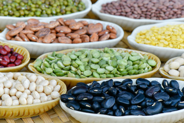 Prepared  black bean and many legumes for cooking