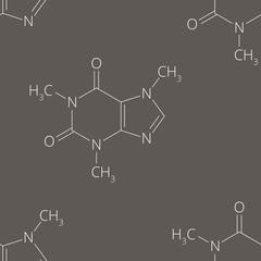 Caffeine molecule pattern, seamless background design