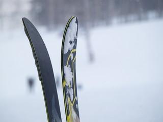 ゲレンデに立てられたスキー