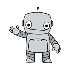 Friendly Cartoon Robot Vector Illustration