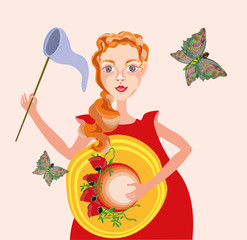 vector illustration with a sweet little girl in red dress with insect net and big summer hat decorated with poppy flowers and butterflies flying around