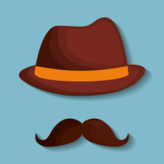 hat and mustache hipster items image vector illustration design