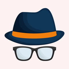 hat and glasses hipster items image vector illustration design