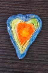 Valentine heart made of salt dough, symbol of love