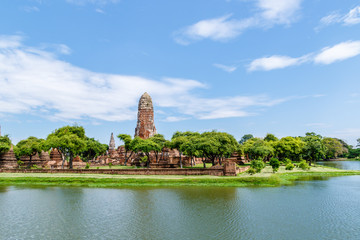 Main tower of Wat Phra Ram monastery and surrounding lake, in Ayutthaya Historical Park, Thailand. The park is now a UNESCO world heritage site.