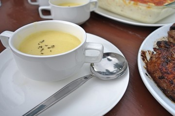 corn soup on dining table
