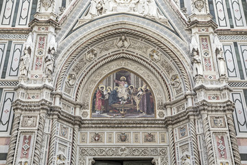 Detail of Cathedral of Saint Mary of the Flower in Florence, Italy