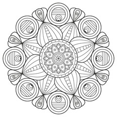 Black and white mandala ornament. Vector illustration for coloring book pages.