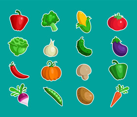 Set of fresh farm market vegetable icons