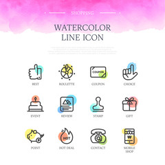 Shopping Watercolor Line Icon Set