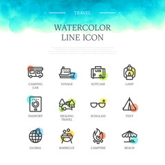 Travel Watercolor Line Icon Set