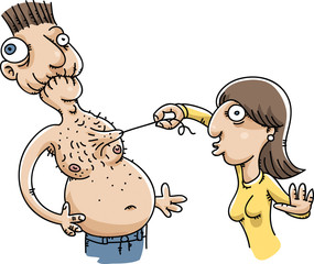 A cartoon woman plucks a long hair off of the chest of a man who grimaces in pain.