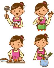 主婦 料理をするイメージイラストセット