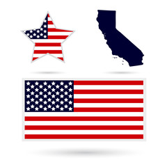 Map of the U.S. state of California on a white background. Ameri