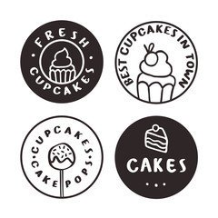 Bakery logotypes. Cakes cupcakes pastry. Vector hand drawn illustration