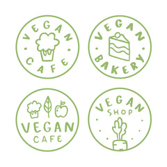 Vegan round badges. Vector linear hand drawn labels.