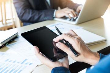 businessman working with digital tablet computer and smart phone