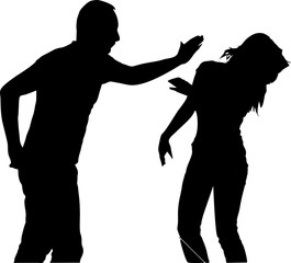 silhouette-tenderness-do not try it a slap woman with the flat of the band