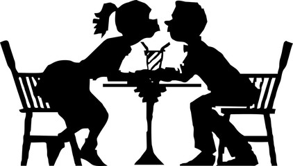silhouette-kissing in the restaurant on valentine's day moment
