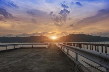 Landscape of bridge in the port between sunset