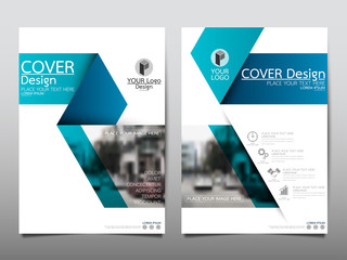 Blue fold flyer cover business brochure vector design, Leaflet advertising abstract background, Modern poster magazine layout template, Annual report for presentation.