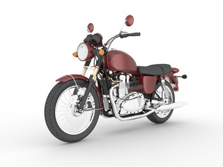 3D illustration vinous isolated classic motorcycle.