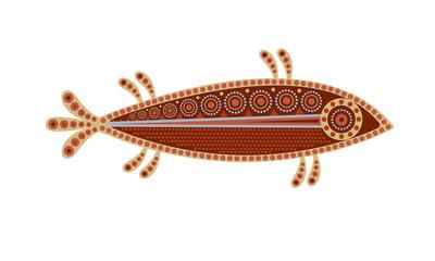 Цветное изолированное изображение рыбы в племенном стиле с узорами внутри.
