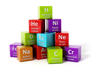 Periodic table elements. 3D illustration