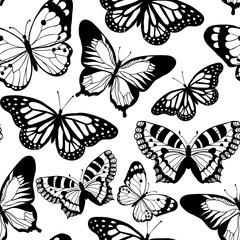 Beautiful butterfly. Vector seamless pattern