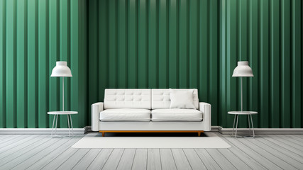 modern vintage living room  interior ,white sofa and lamp with green wall  /3d render