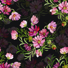 Seamless pattern garden flowers