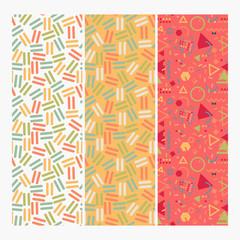 Seamless Memphis Design Pattern Set