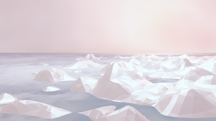 3d rendering picture of Arctic sea ice. Low poly icebergs against beautiful pastel color sky. Vintage photo filter.