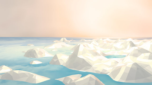 3d rendering picture of Arctic sea ice. Low poly icebergs against beautiful pastel color sky.