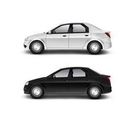 Blank black and white car design mockup, isolated, side view, 3d illustration. Clear auto body mock up profile surface. Plain vechicle branding template. Sedan motor car presentation. City machine set