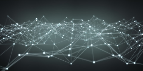 Floating white and blue dot network 3D rendering