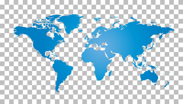Blank blue world map on isolated background. World map vector template for website, infographics, design. Flat earth world map illustration