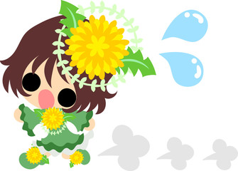 Illustration of a cute running girl and dandelion