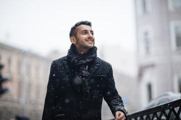 Joyous Arabic Man in Winter City