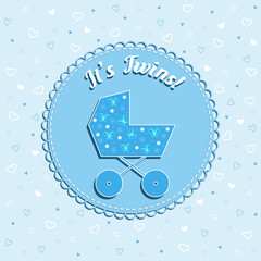 Funny newborn birthday vector card with pram on blue background with hearts for twins