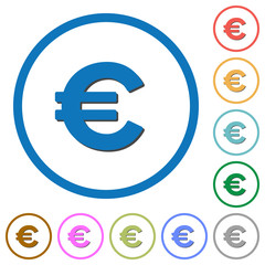 Euro sign icons with shadows and outlines